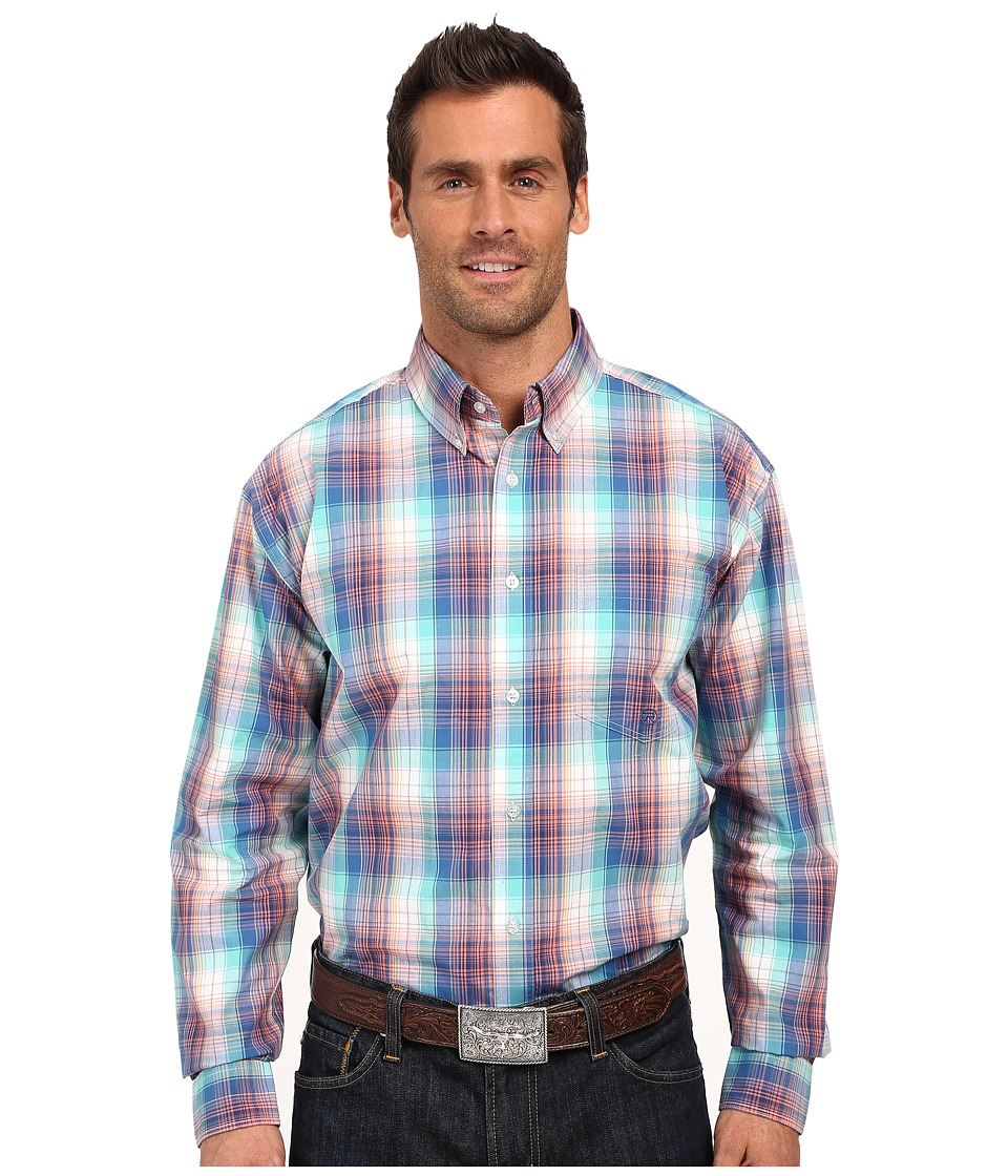 Roper - One Open Pocket 0171 Solar Plaid (Blue) Men's Long Sleeve Button Up