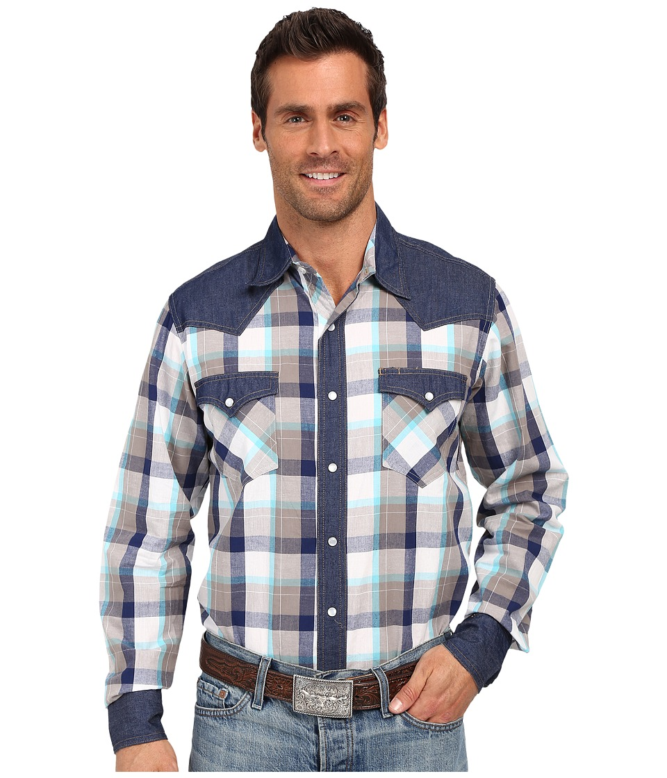 Roper - 0196 Perfect Plaid (Blue) Men's Long Sleeve Button Up