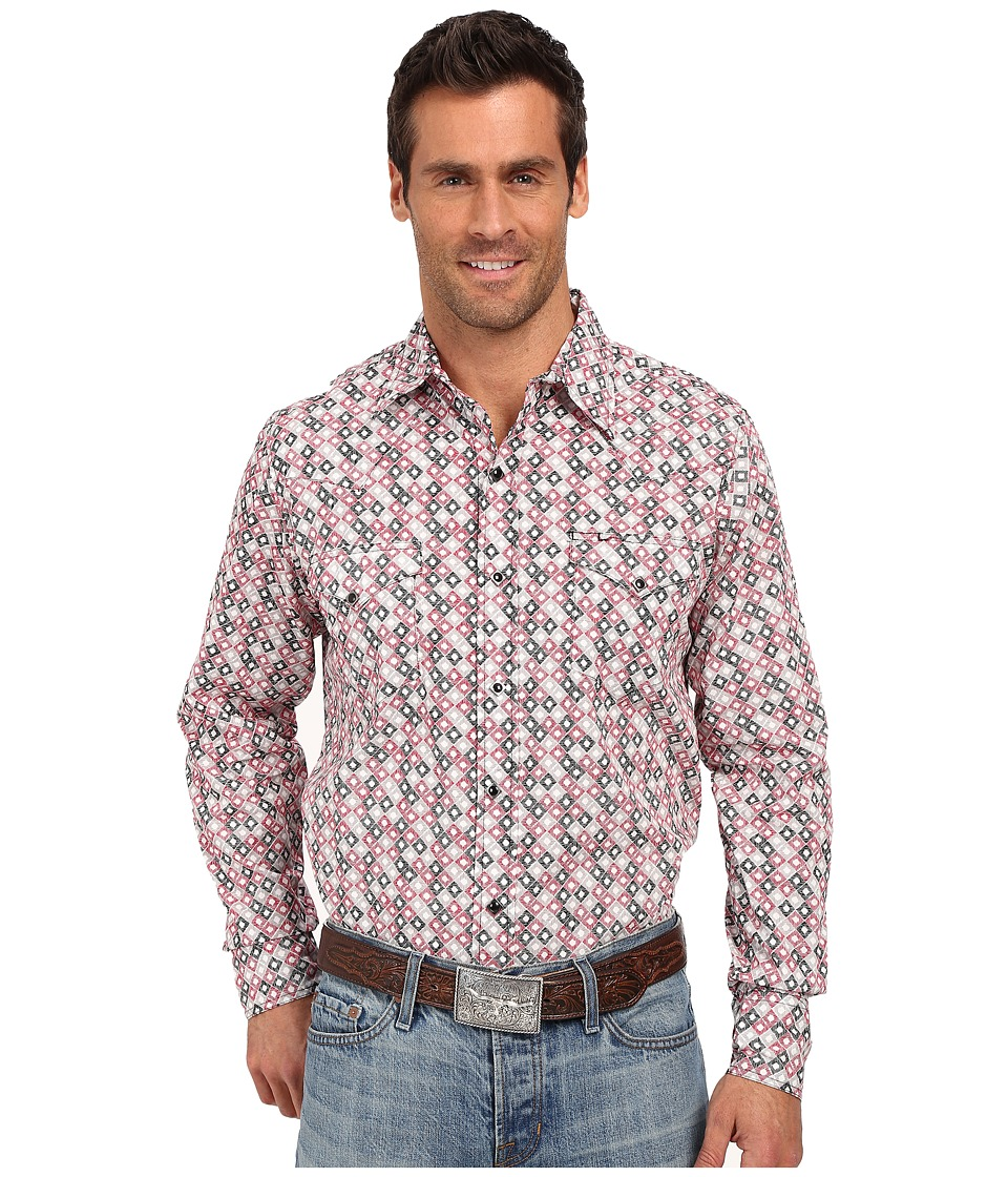 Roper - 0186 Hollow Diamond Print (Red) Men's Long Sleeve Button Up