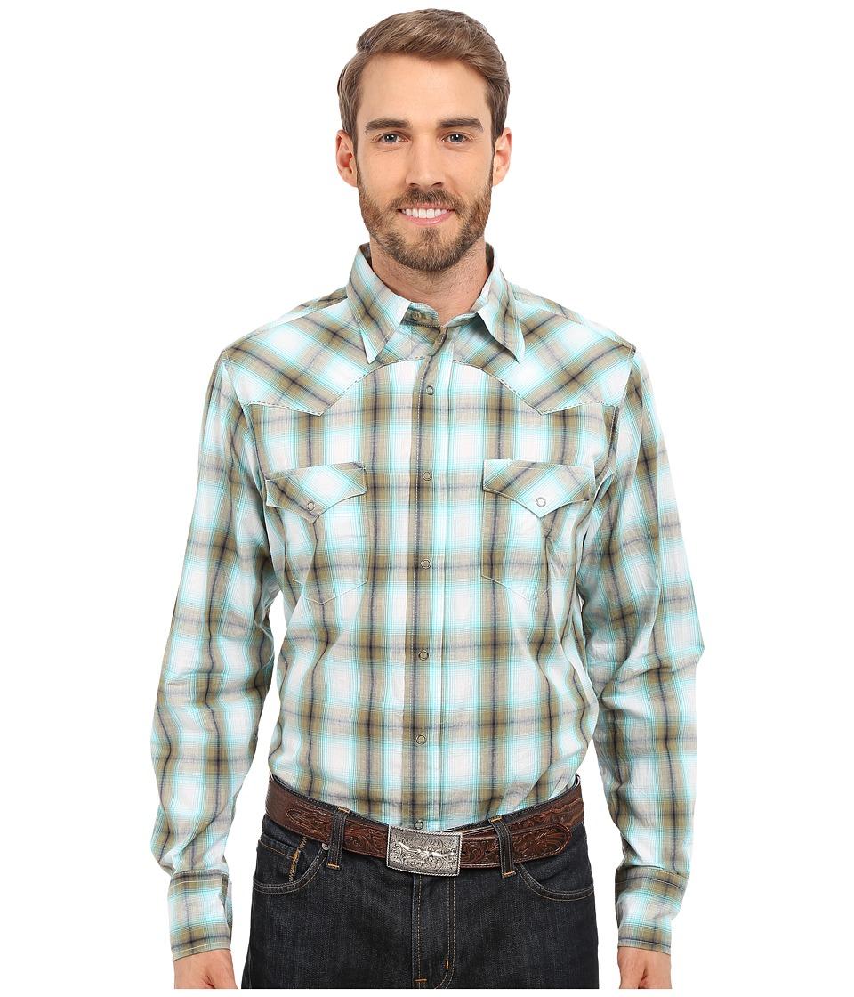 Roper - 0192 Baseball Ombre Plaid (Green) Men's Long Sleeve Button Up