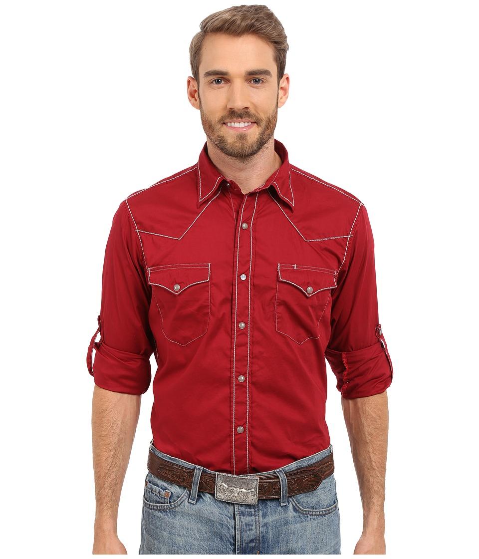 Roper - 0281 Solid Poplin (Red) Men's Long Sleeve Button Up