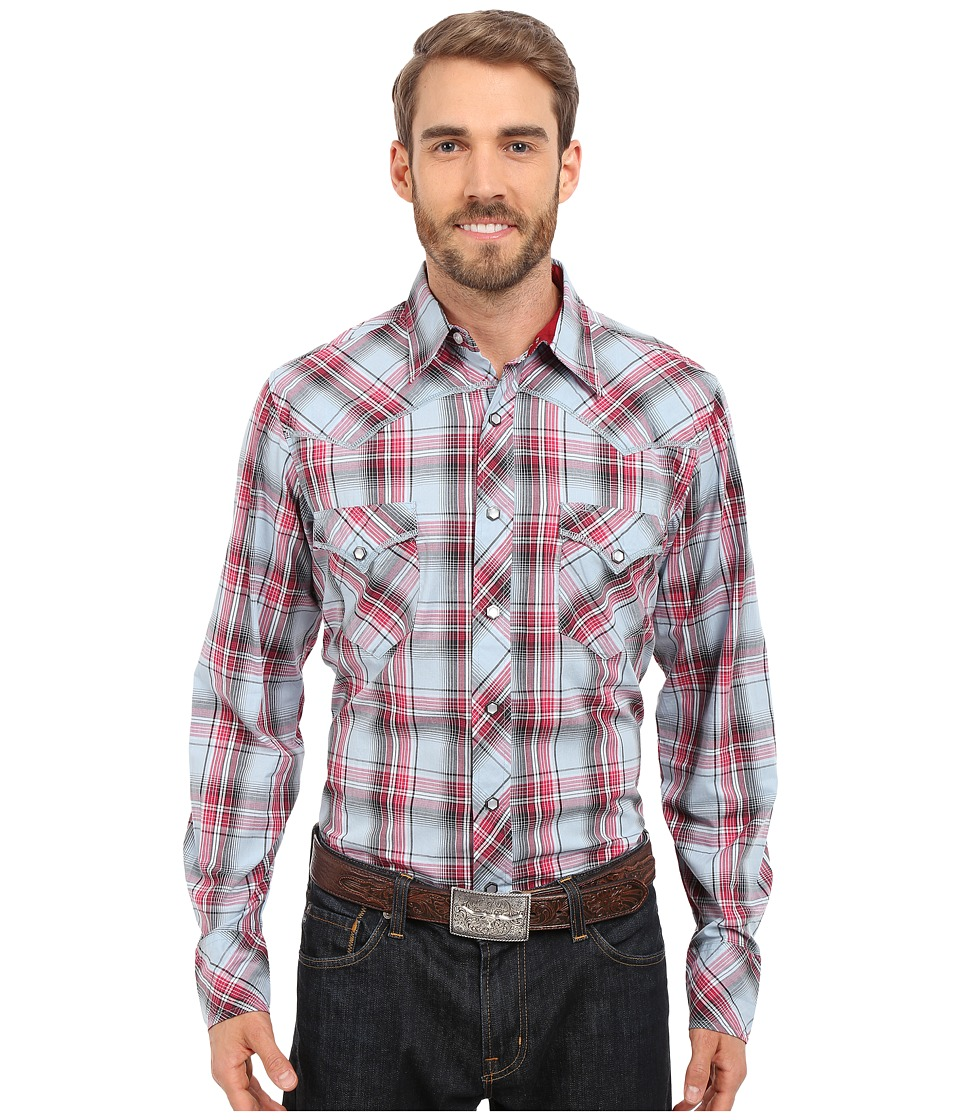 Roper - 0195 Checkers Plaid (Blue) Men's Long Sleeve Button Up