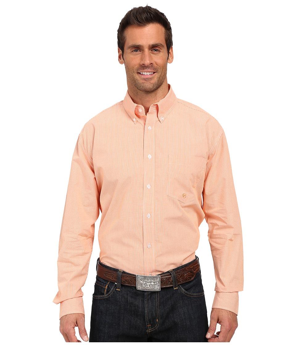 Roper - One Open Pocket 0283 Mini Checks (Orange) Men's Long Sleeve Button Up