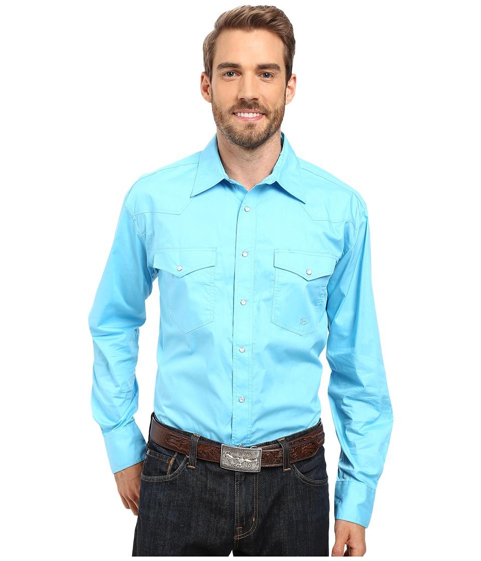 Roper - Snap 0282 Solid Poplin (Blue) Men's Clothing