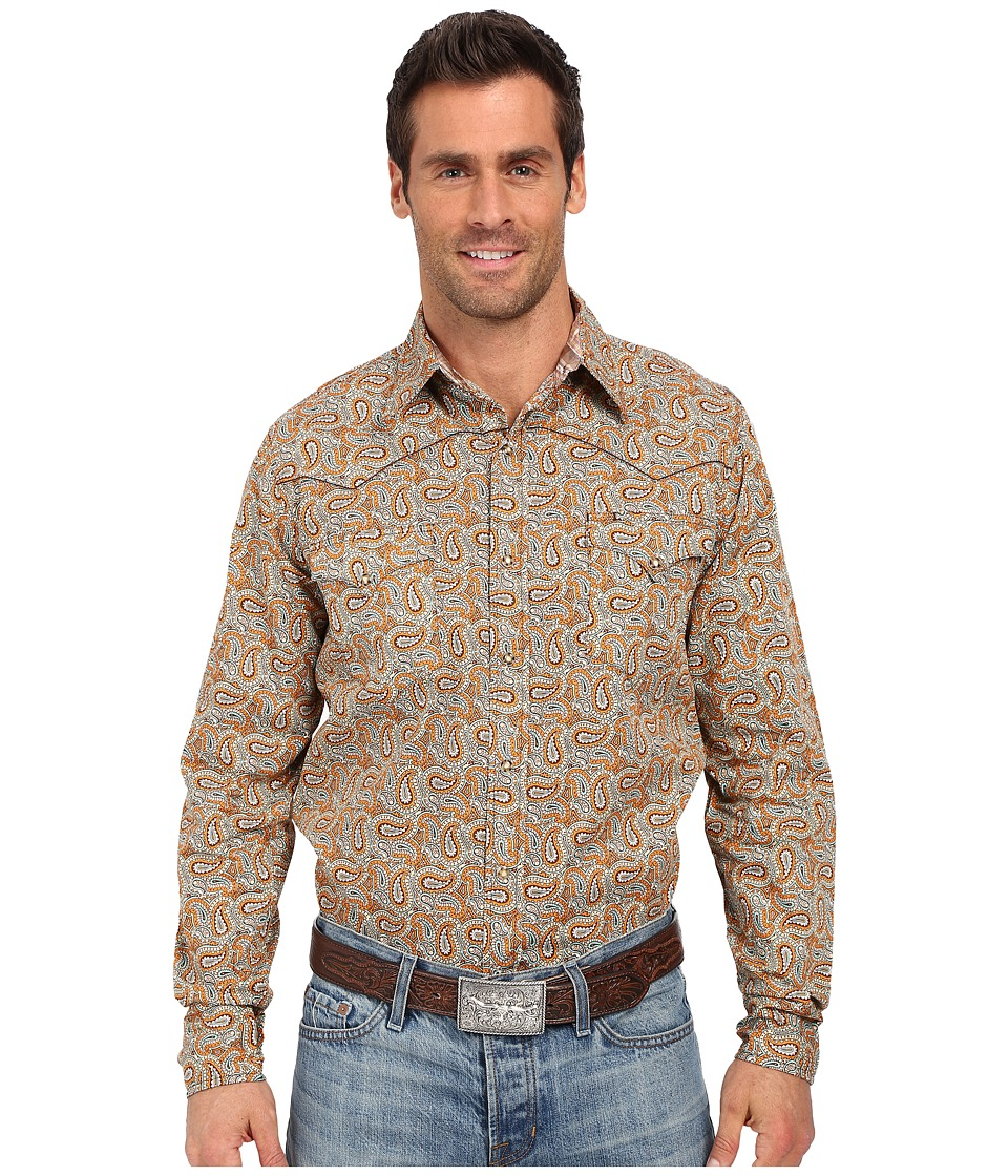 Roper - 0185 Multi Paisley (Orange) Men's Long Sleeve Button Up