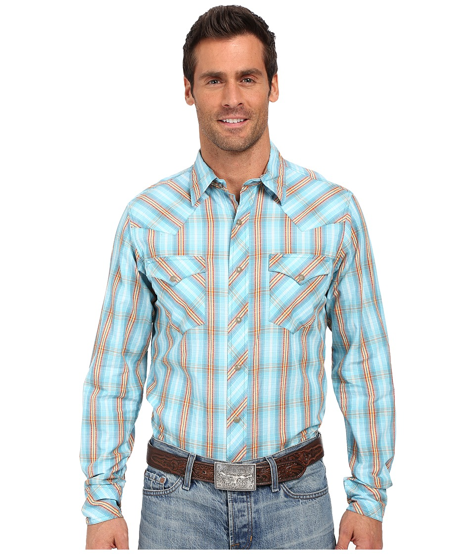 Roper - 0190 Ombre Dobby Plaid (Blue) Men's Long Sleeve Button Up