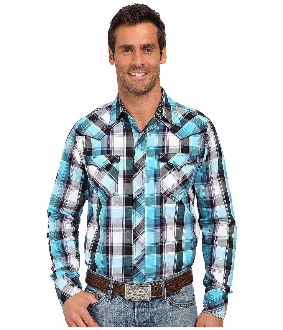 Roper - 0194 Dobby Plaid (Blue) Men's Long Sleeve Button Up