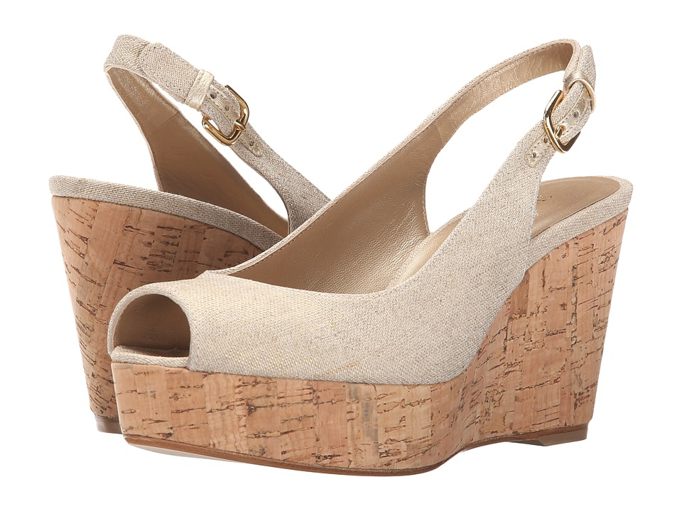 Stuart Weitzman Jean Gold Summer Linen Womens Shoes