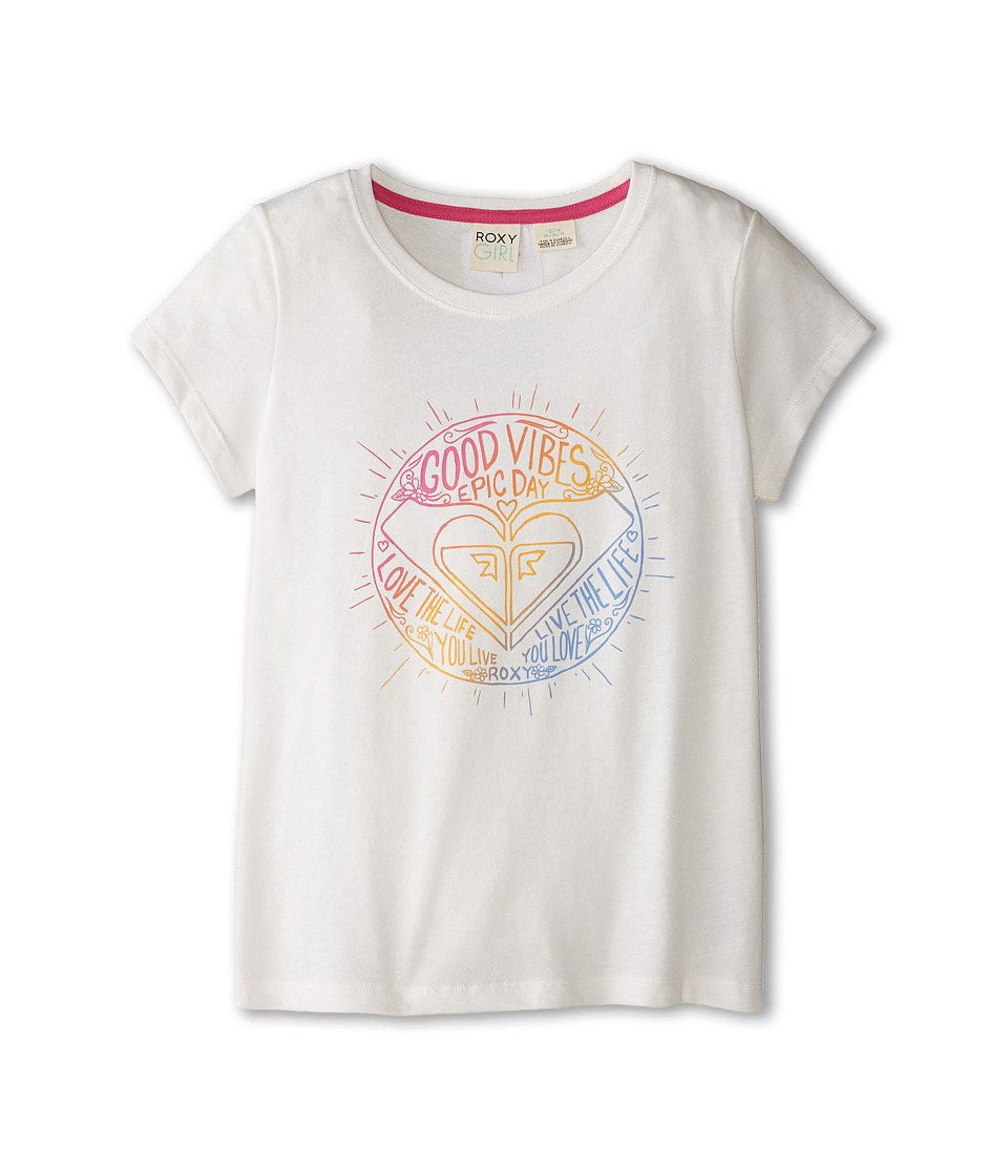 Roxy Kids - Good Vibes Tee (Little Kids/Big Kids) (White) Girl's T Shirt