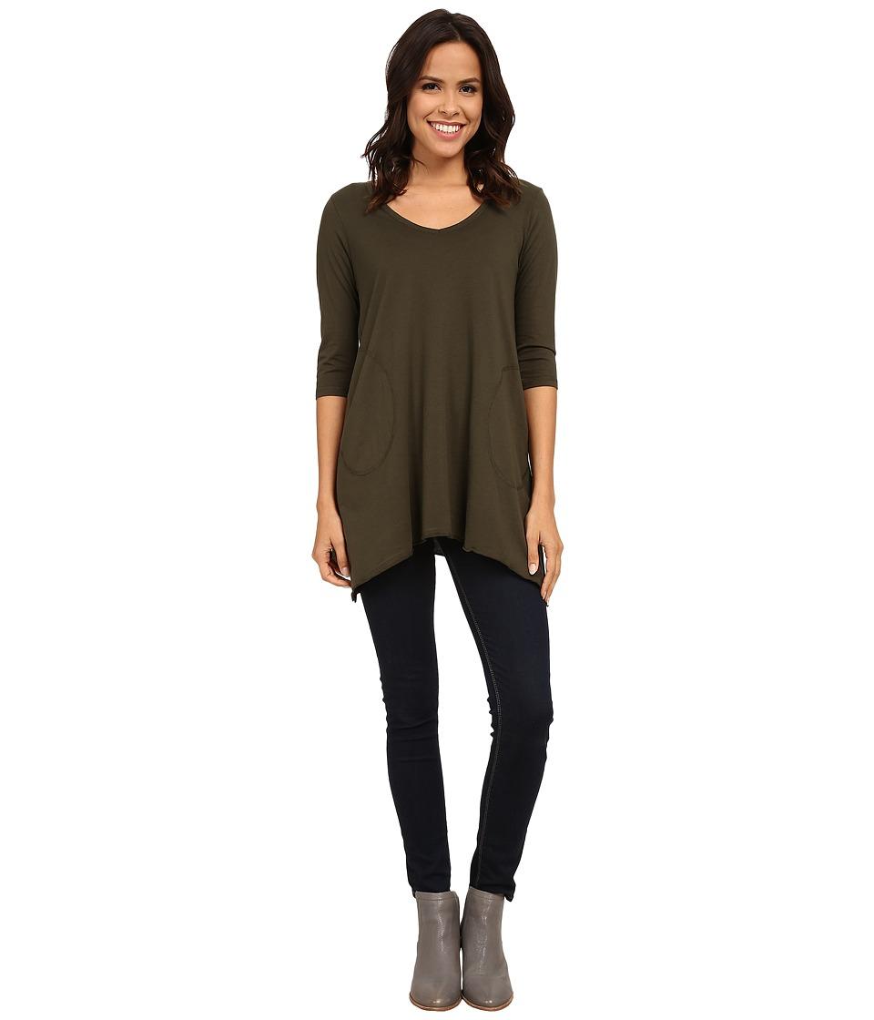 Allen Allen 3/4 Sleeve V-Angled Tunic (Dark Olive) Women
