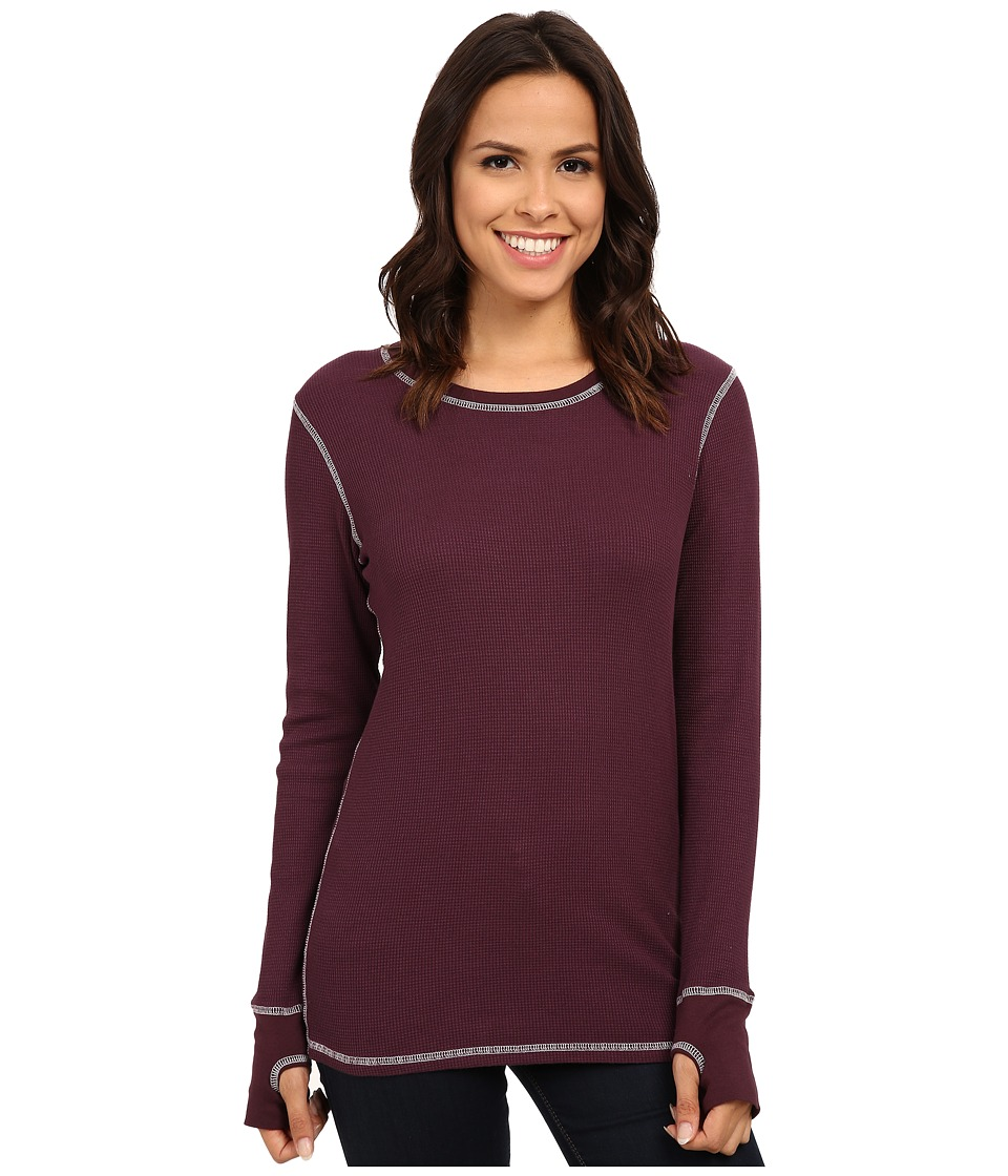 Image of Allen Allen - L/S Thumbhole Tee Thermal Crew (Eggplant) Women's Long Sleeve Pullover