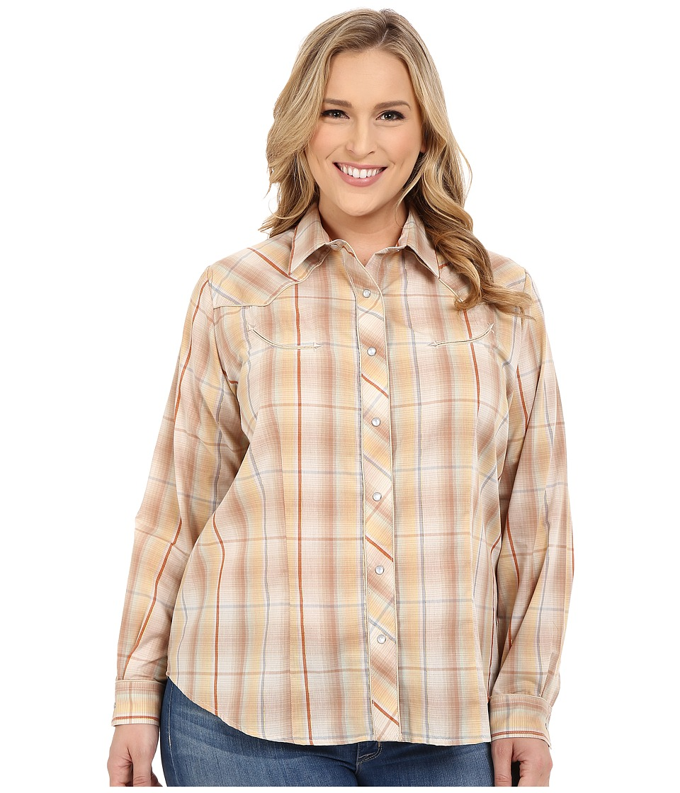 Roper - Plus Size Earth Tone Plaid with Embroidery (Brown) Women's Long Sleeve Button Up