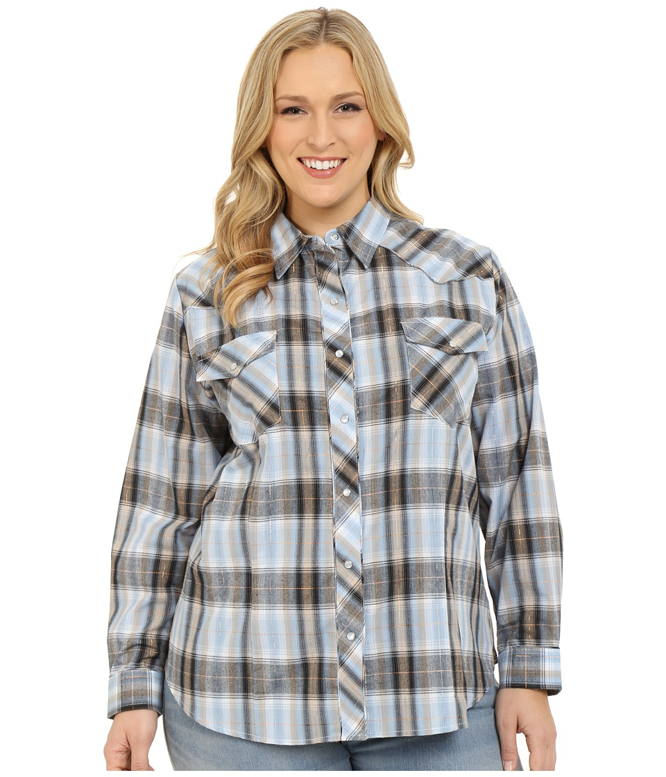 Roper - Plus Size 295 Plaid with Embroidery (Blue) Women's Clothing