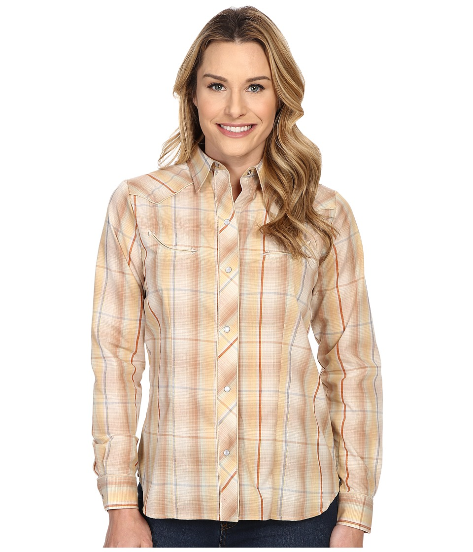 Roper - Earth Tone Plaid with Embroidery (Brown) Women's Long Sleeve Button Up