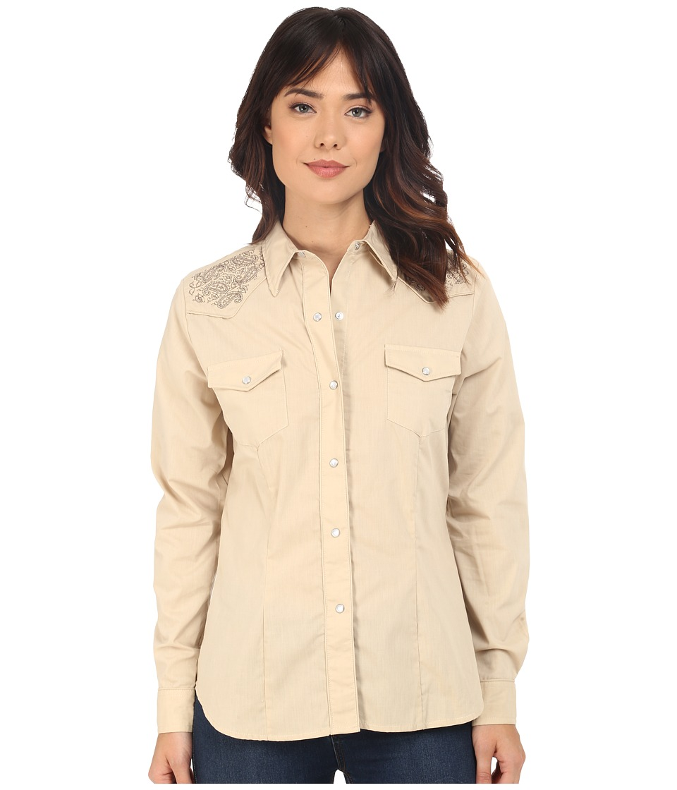 Roper - Solid Sand with Fancy Design (Brown) Women's Long Sleeve Button Up