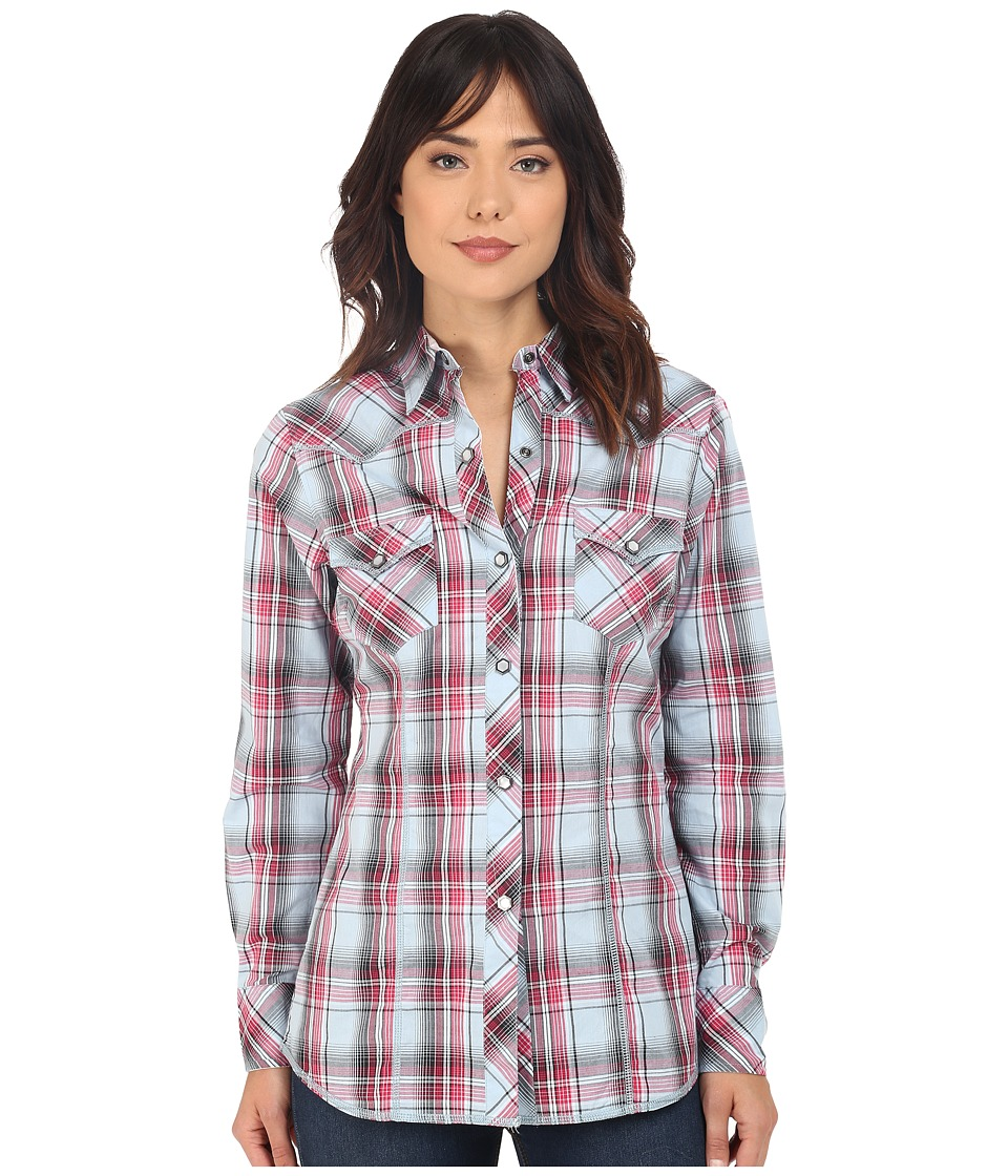 Roper - 0195 Checkers Plaid (Blue) Women's Long Sleeve Button Up