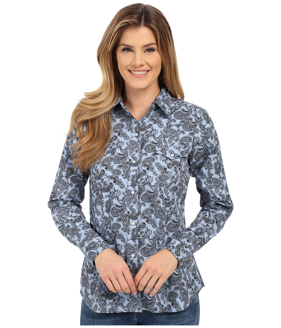 Roper - 0175 Cornflower Paisley (Blue) Women's Long Sleeve Button Up