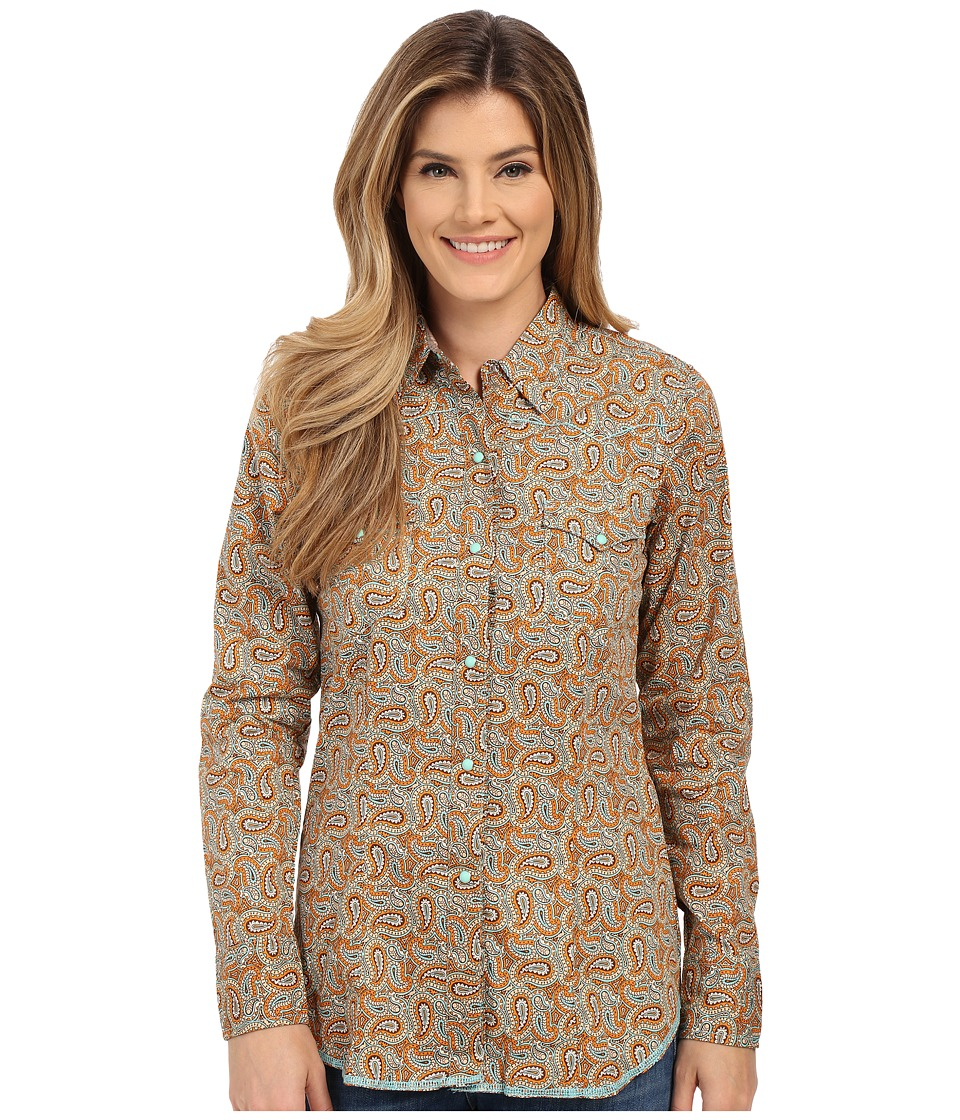 Roper - 0185 Multi Paisley (Orange) Women's Long Sleeve Button Up
