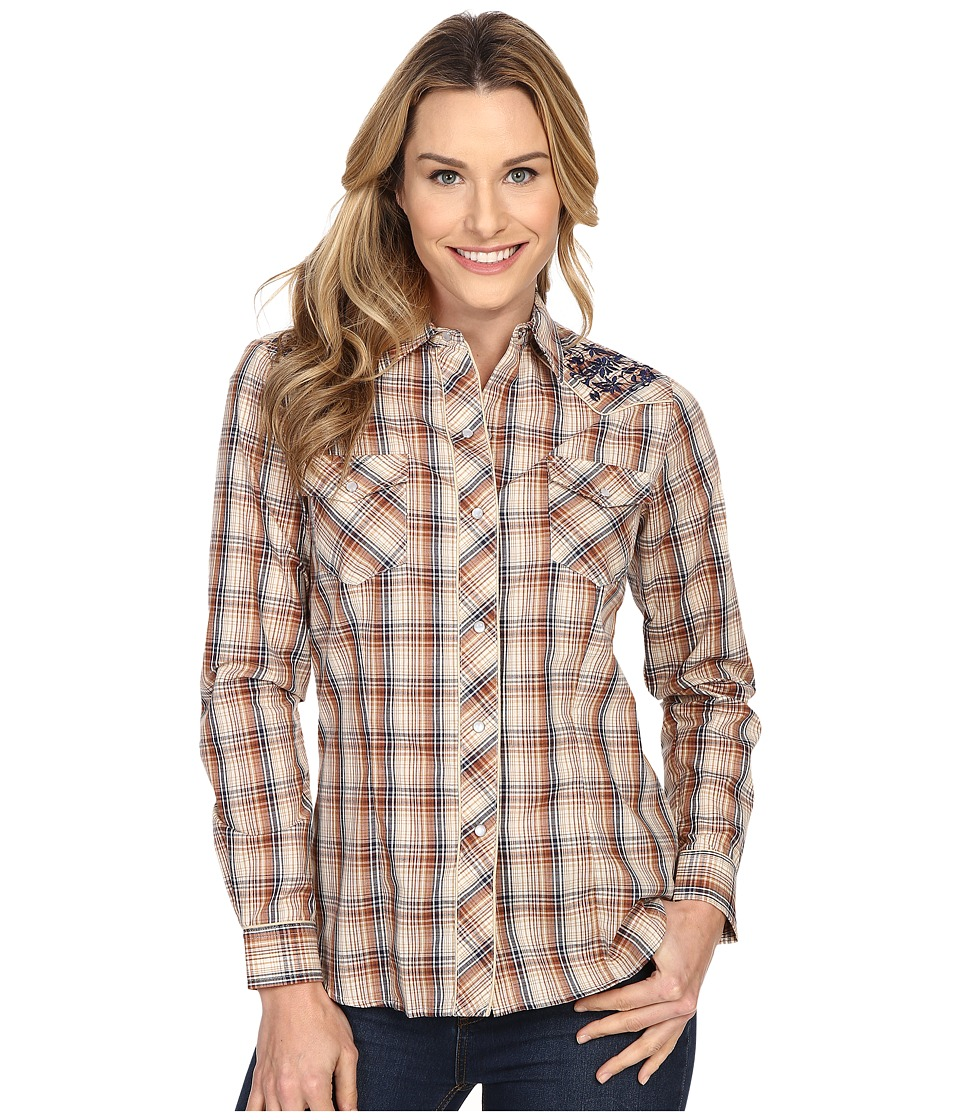 Roper - 300 Navy Brown Plaid with Embroidery (Brown) Women's Long Sleeve Button Up