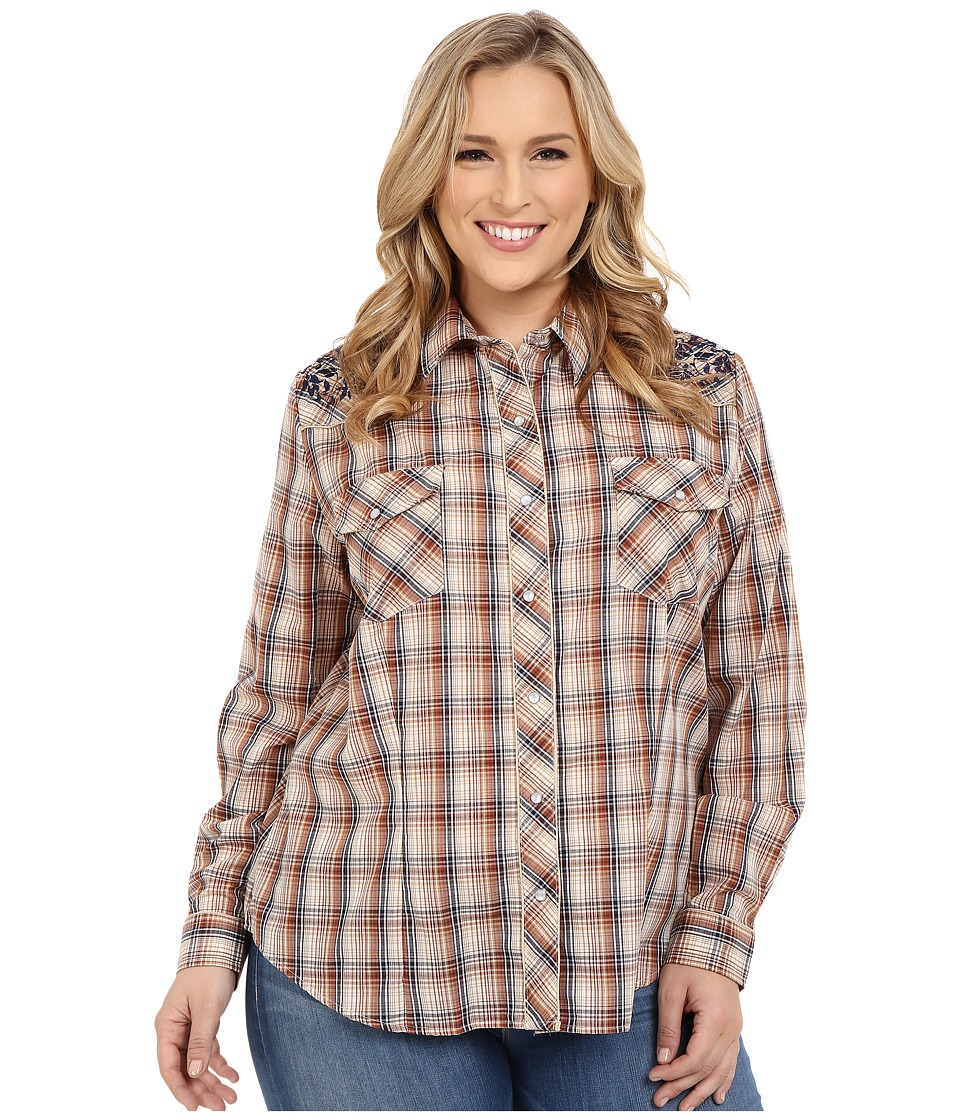 Roper - Plus Size 300 Navy Brown Plaid with Embroidery (Brown) Women's Long Sleeve Button Up