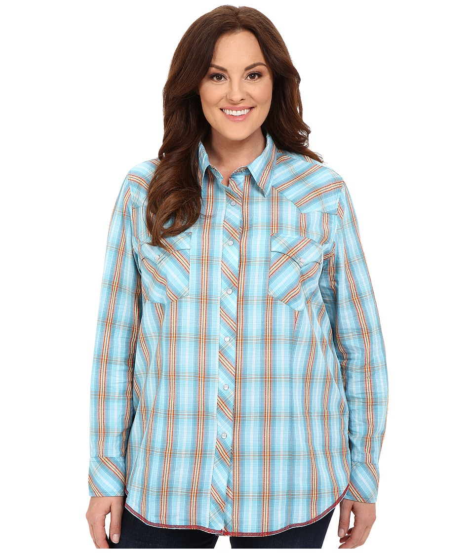 Roper - Plus Size 0190 Ombre Dobby Plaid (Blue) Women's Long Sleeve Button Up