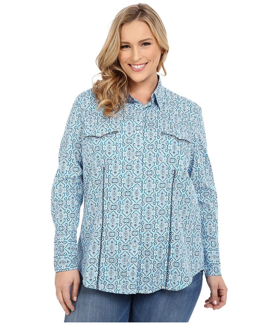 Roper - Plus Size 0188 Stamper Print (Blue) Women's Long Sleeve Button Up