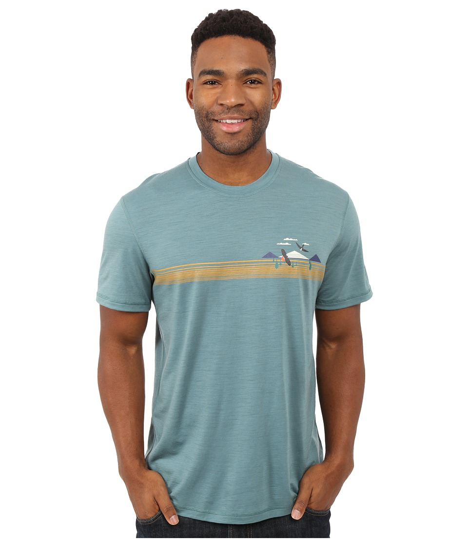 Smartwool - NTS Micro 150 Tee: Charley Harper National Park Poster Bird on a Mountain (Sea Pine) Men's Short Sleeve Pullover
