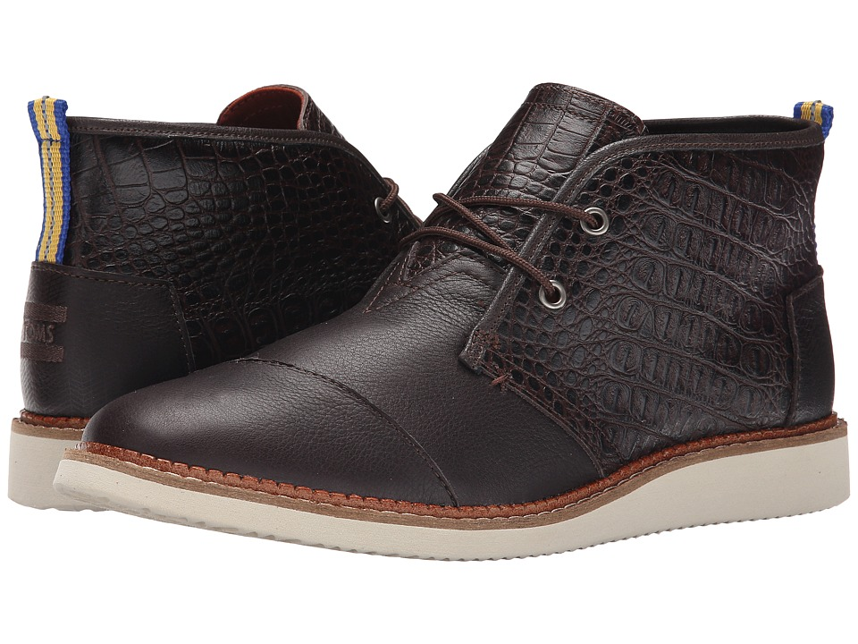 TOMS - Mateo Chukka Boot (Dark Brown Croc Embossed Leather) Men's Lace-up Boots