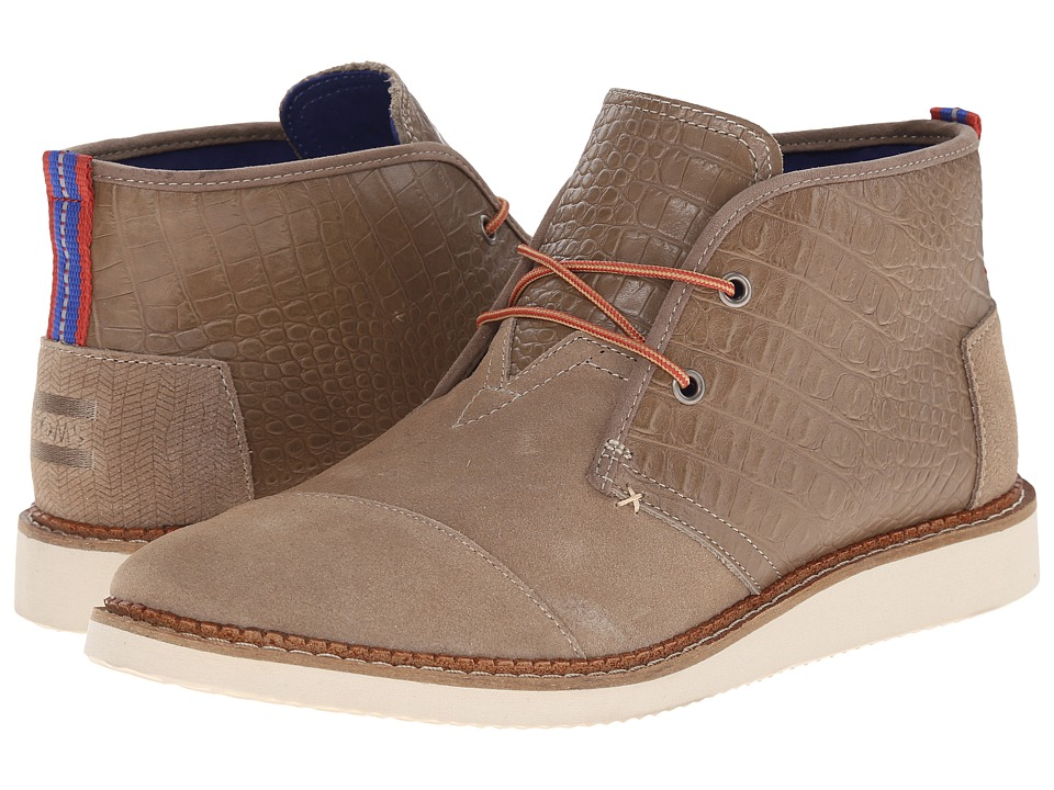 TOMS - Mateo Chukka Boot (Desert Taupe Croc Embossed Leather) Men's Lace-up Boots
