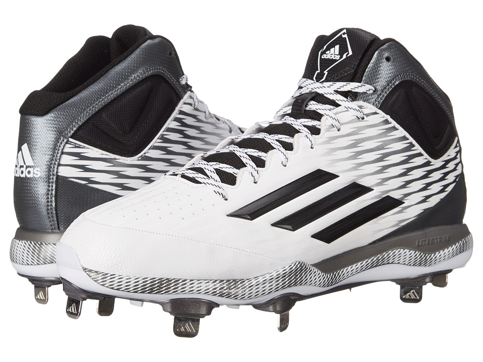 adidas - PowerAlley 3 Mid (White/Black/Grey) Men's Cleated Shoes