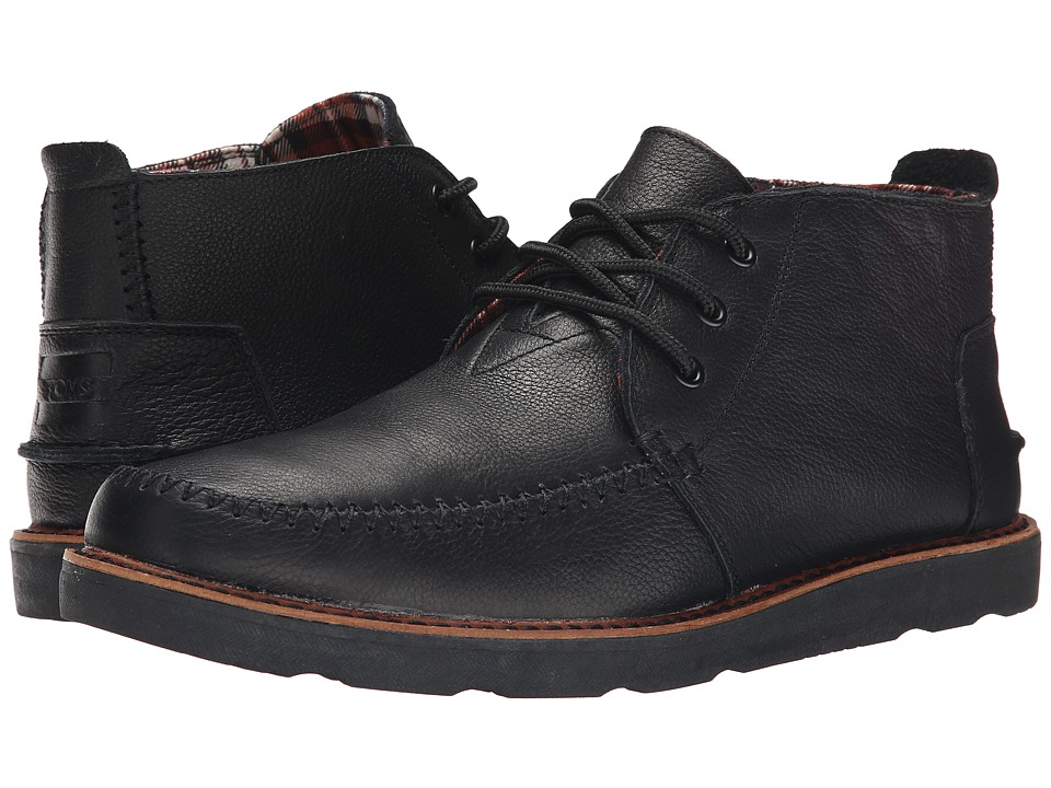 TOMS - Chukka Boot (Black Full Grain Leather) Men's Lace-up Boots