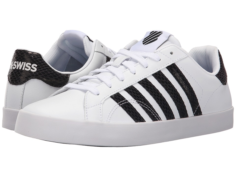 K-Swiss - Belmont SO Snake (White/Black Leather) Women's Lace up casual Shoes
