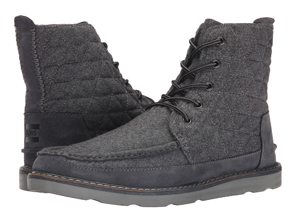 TOMS - Searcher Boot (Castlerock Grey Quilted Wool/Suede) Men's Lace-up Boots