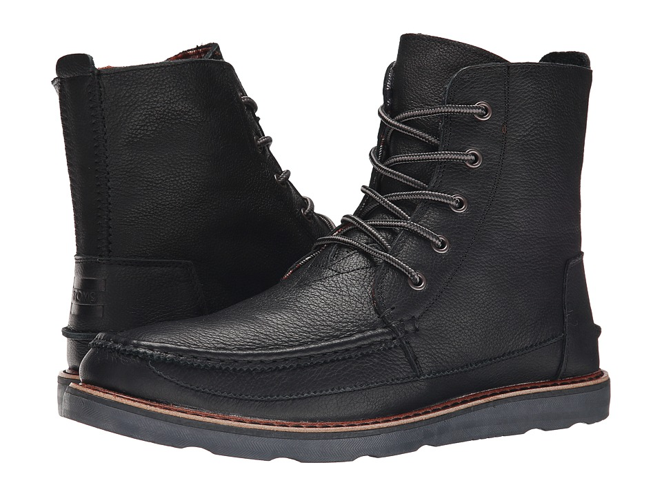 TOMS - Searcher Boot (Black Full Grain Leather) Men's Lace-up Boots