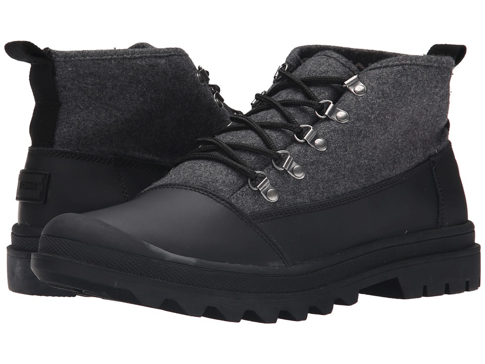 TOMS - Cordova Boot (Black/Black Wool) Men's Lace-up Boots