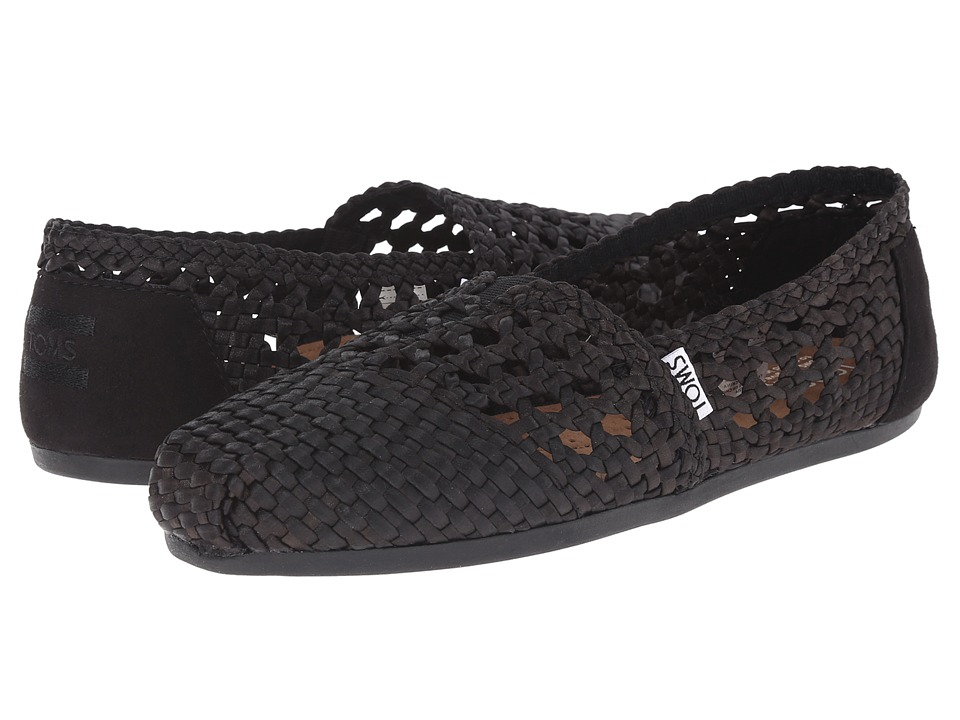 TOMS - Woven Classics (Black Satin Woven) Women's Slip on Shoes