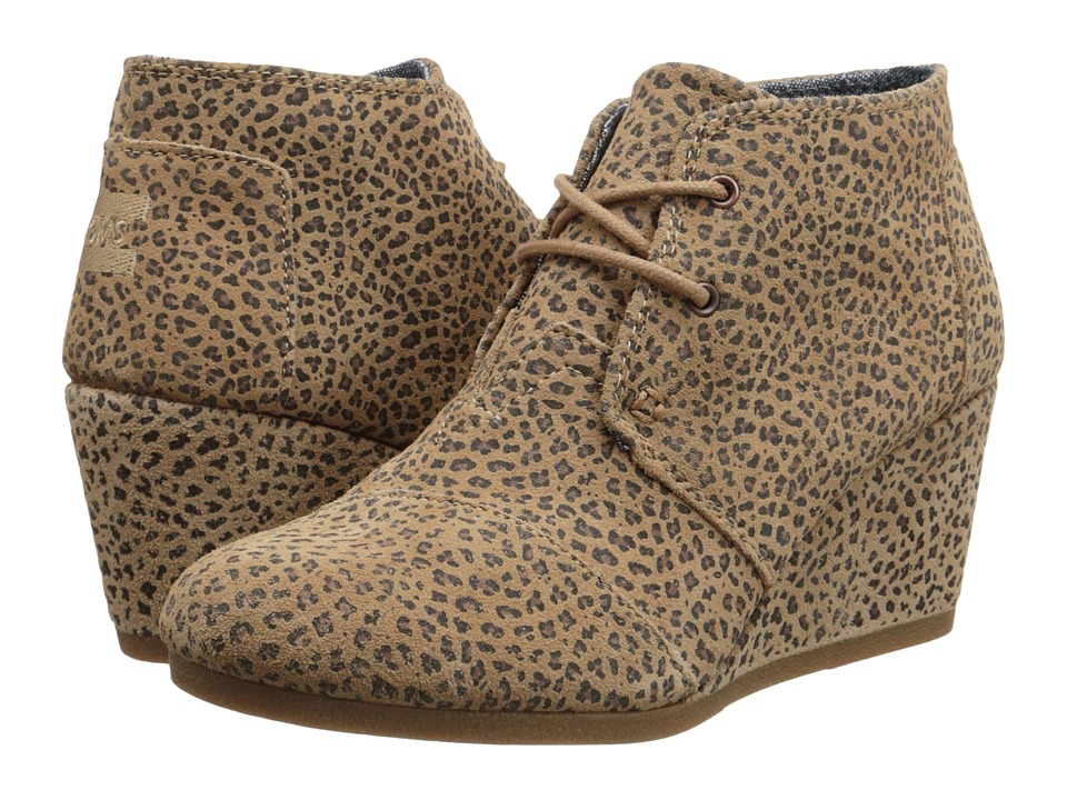 TOMS Desert Wedge (Cheetah Suede Printed) Women