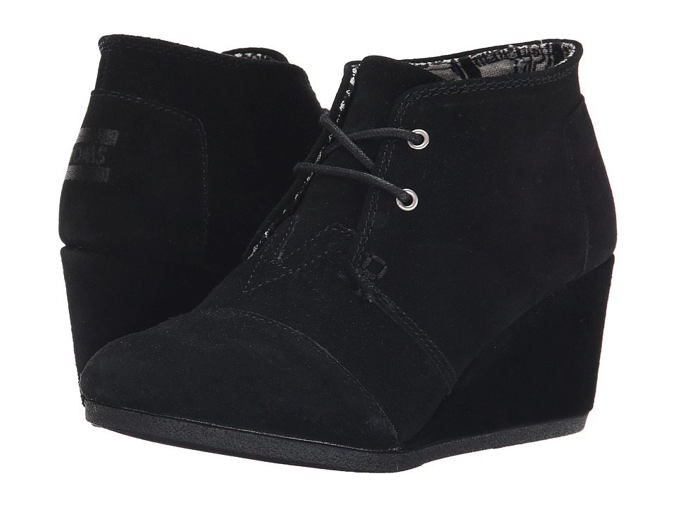 TOMS Desert Wedge (Black Suede) Women