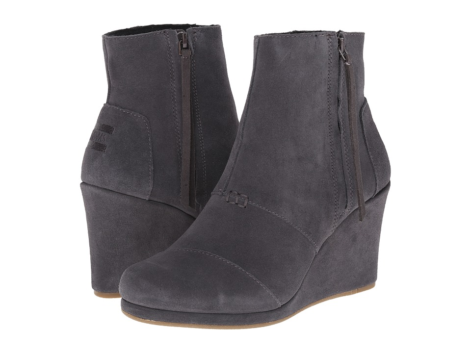TOMS Desert Wedge High (Dark Grey Suede) Women
