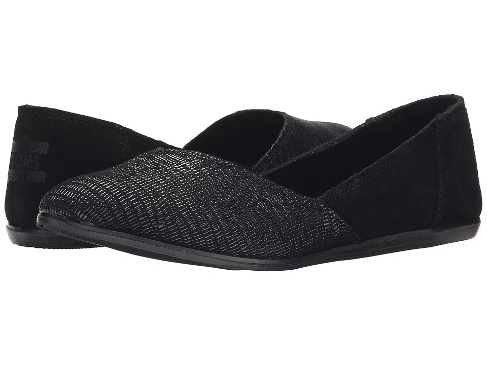 TOMS - Jutti Flat (Black Suede Emboss) Women's Flat Shoes