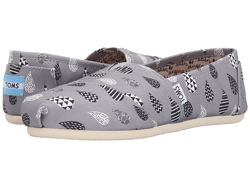 TOMS - Print Classics (Grey Canvas Raindrop Print) Women's Slip on Shoes