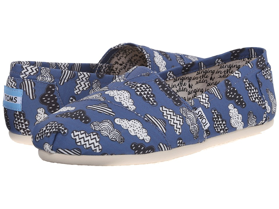 TOMS - Print Classics (Blue Canvas Cloud Print) Women's Slip on Shoes
