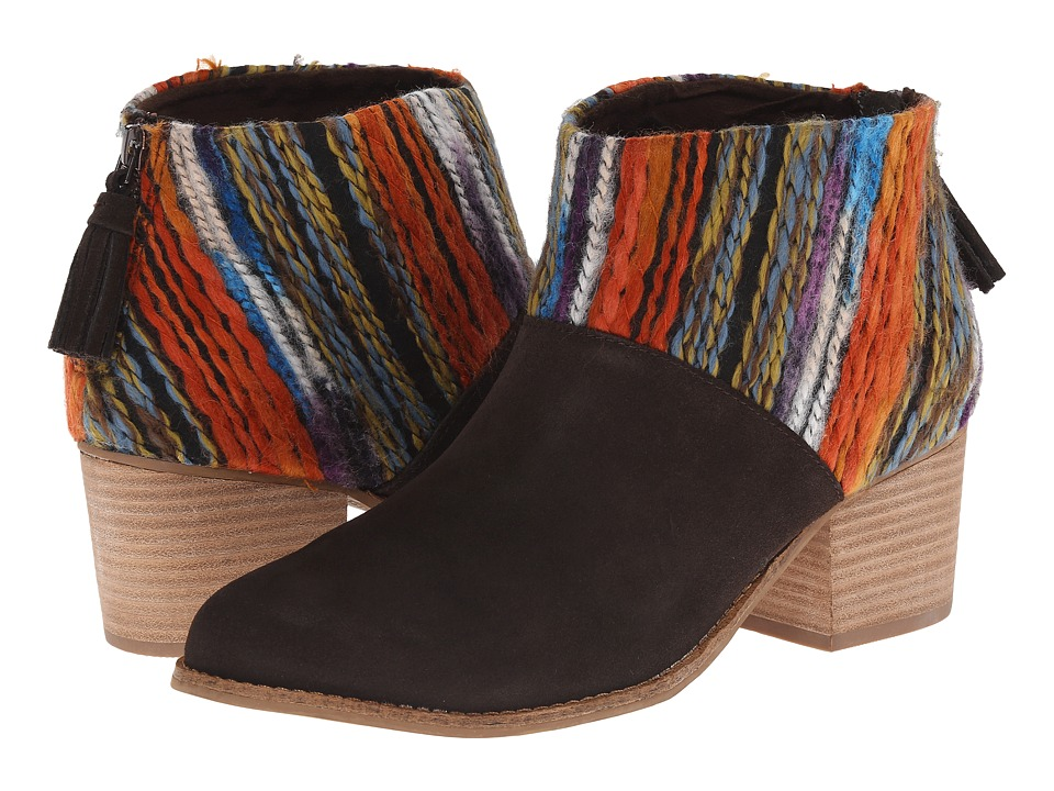 TOMS - Leila Bootie (Chocolate Suede Multi Textile) Women's Zip Boots