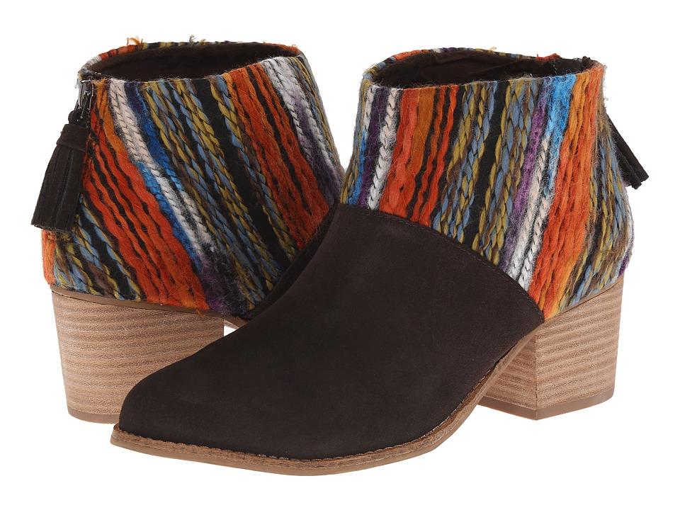 TOMS - Leila Bootie (Chocolate Suede Multi Textile) Women's Zip Boots