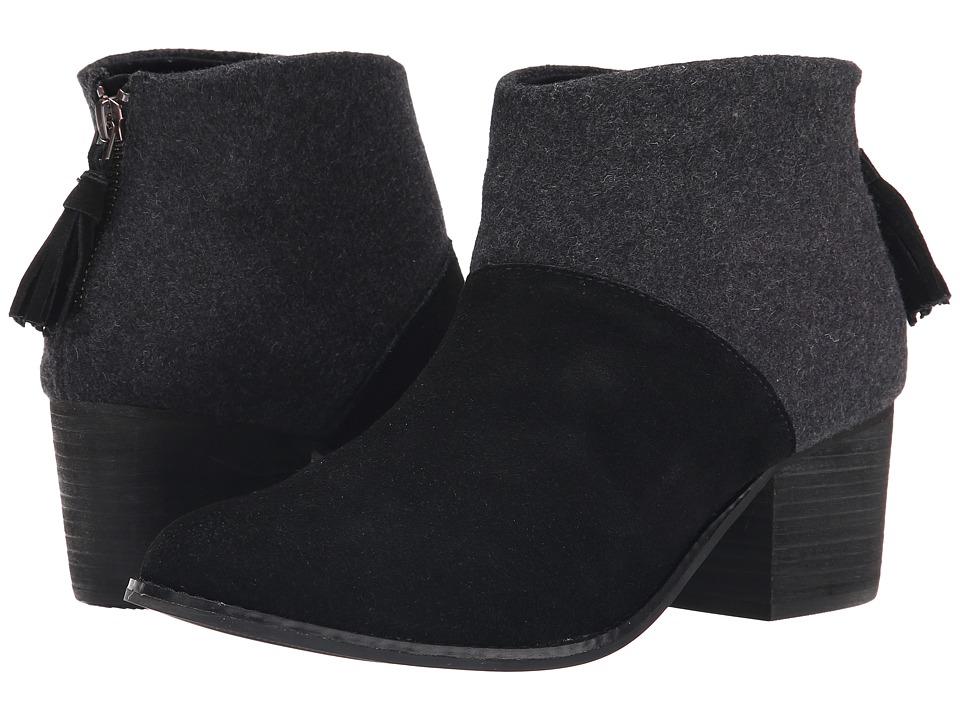 TOMS - Leila Bootie (Black Wool Felt) Women's Zip Boots