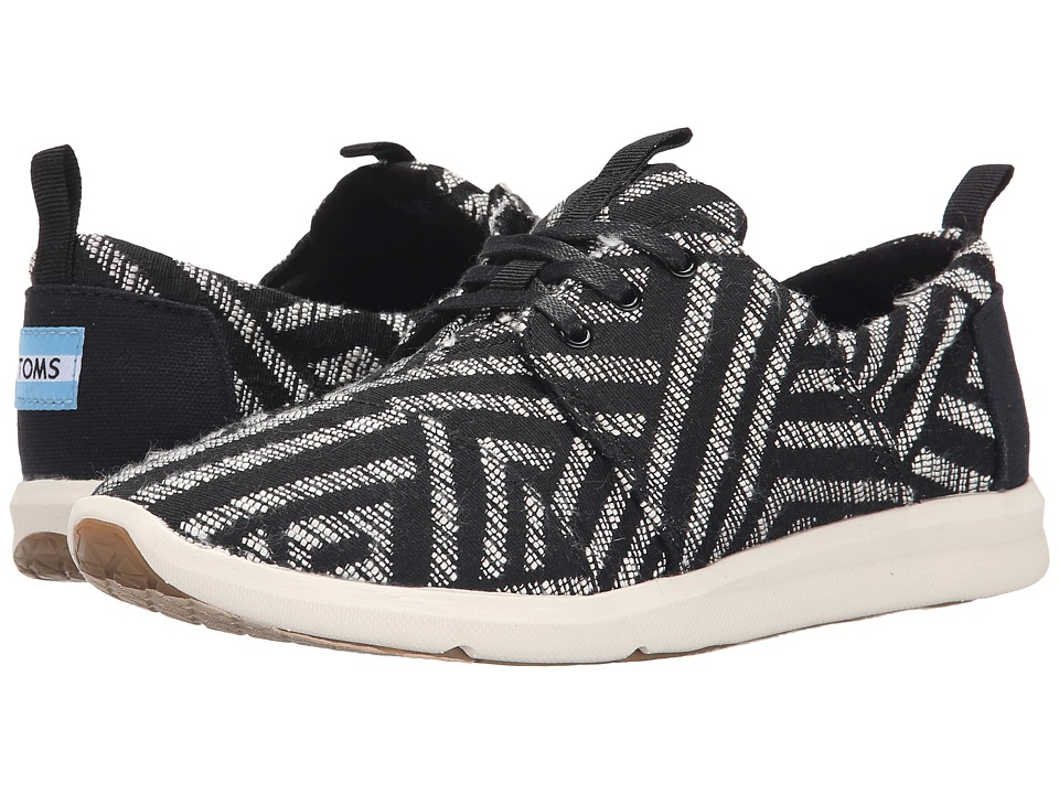 TOMS - Del Rey Sneaker (Black Tribal Woven) Women's Lace up casual Shoes