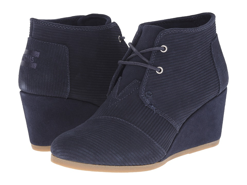 TOMS - Desert Wedge (Navy Blazer Suede Corduroy) Women's Wedge Shoes