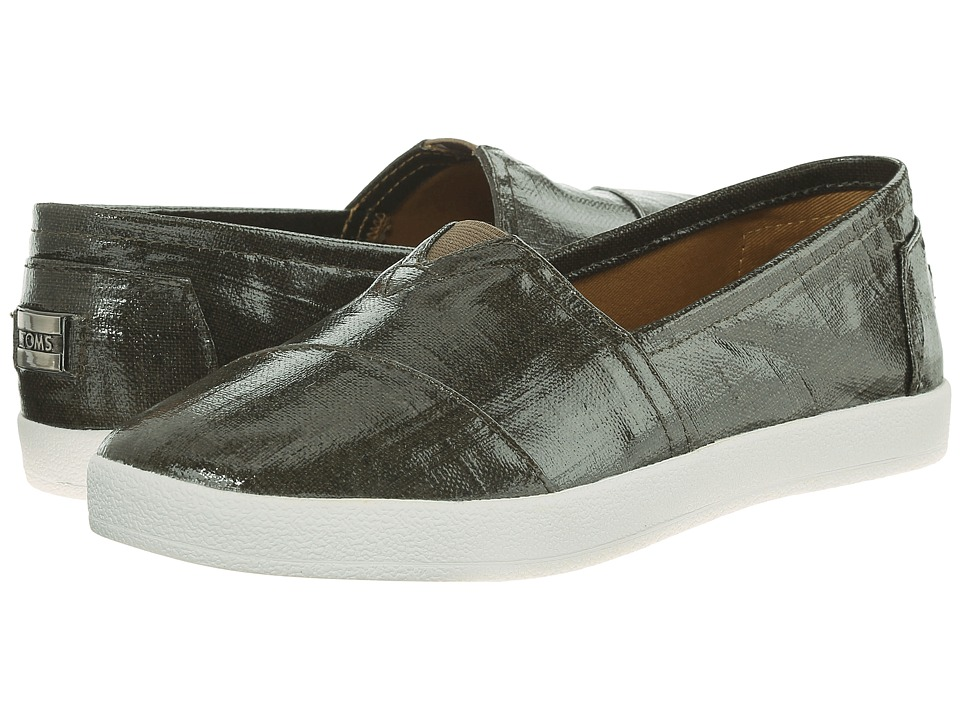 TOMS - Avalon Sneaker (Dark Olive Patent Linen) Women's Slip on Shoes