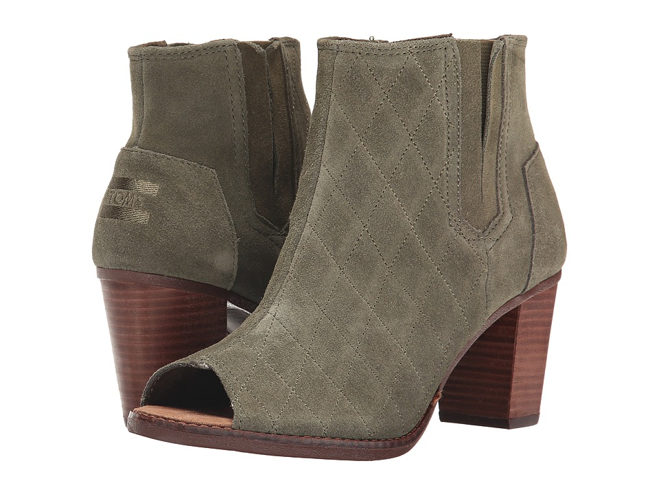 TOMS - Majorca Peep Toe Bootie (Tarmac Olive Suede Quilted) Women's Toe Open Shoes