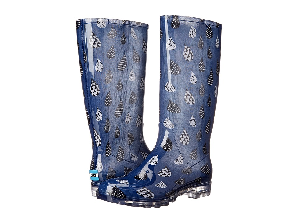 TOMS - Cabrilla Rain Boot (Moonlight Blue Raindrop Print) Women's Rain Boots